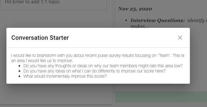 pulse survey one-on-one topic