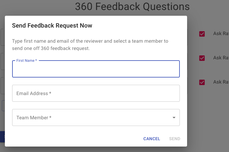 You can click on the Send One Off Feedback Request button to ask for feedback