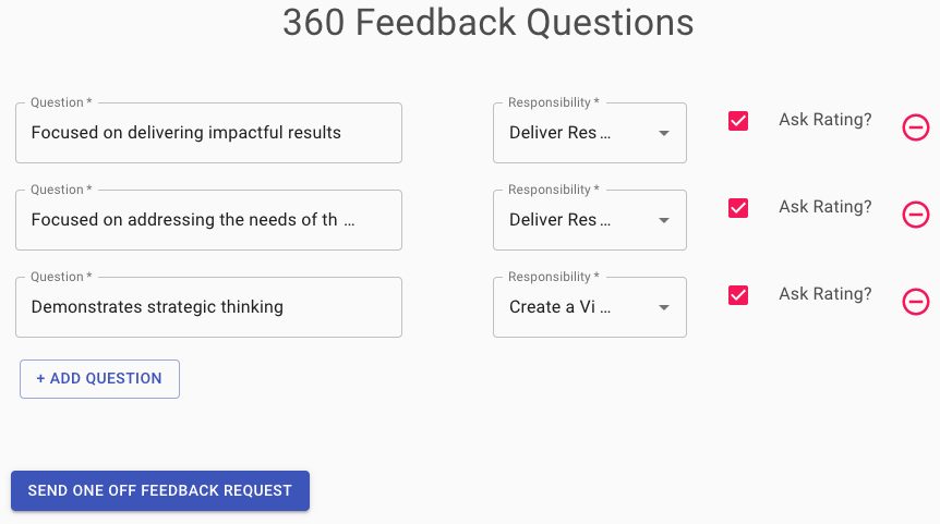 You can write your own or select pre-defined 360 feedback questions